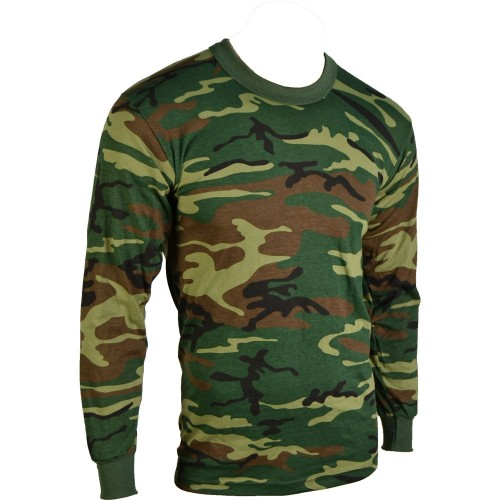 TEE SHIRT  CAMO WOODLAND ML