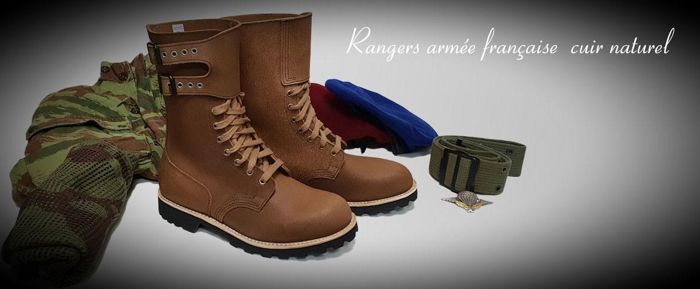 Rangers cuir naturel armée française